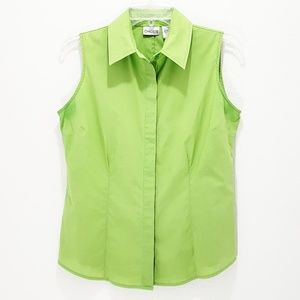 Chico's Sleeveless Top Fitted Button Down Green S